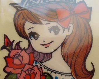 Japanese Princess Mega Kawaii 60s Stickers.Rare