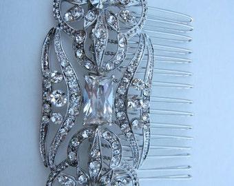 Vintage Inspired Swarovski Crystal Hair Comb, Bridal Hair Comb, wedding hair accessories, wedding hair comb rhinestone, bridal headpieces