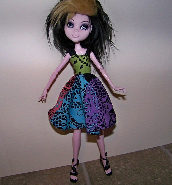 Monster High doll clothes - dress with colorful lacey skulls design