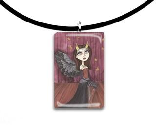 Dark winged Angel, pendant, hand painted watercolor, art print, big eyes girl pendant, magenta, headliner, stage