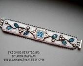 Bead Embroidery Bracelet Cuff Silver White Blue  - bead embroidered  - Winter Breeze -  fashion - OOAK