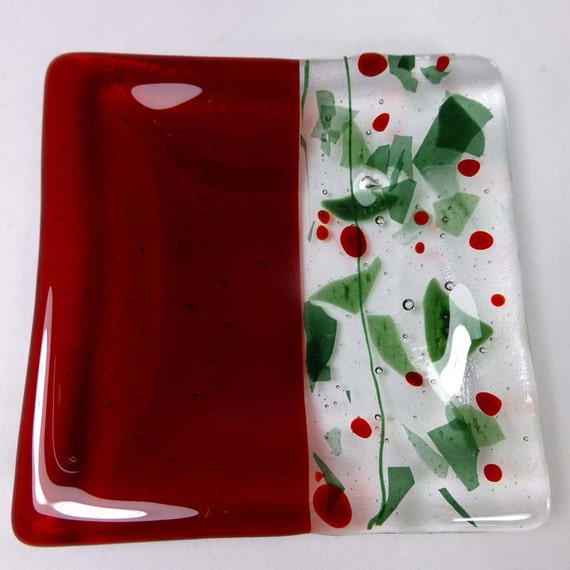 Christmas fused glass candle dish or plate in green holly and