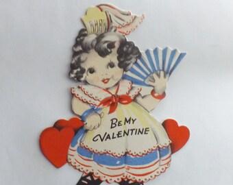 1930s Vintage Valentine's Day Card Gibson little girl Spanish senorita