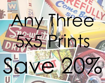 Choose Your Own Set of Three 5x5 Prints - Save 20% on Set of Three Fine Art Photographs - Personalized Home Decor - Retro Wall Art