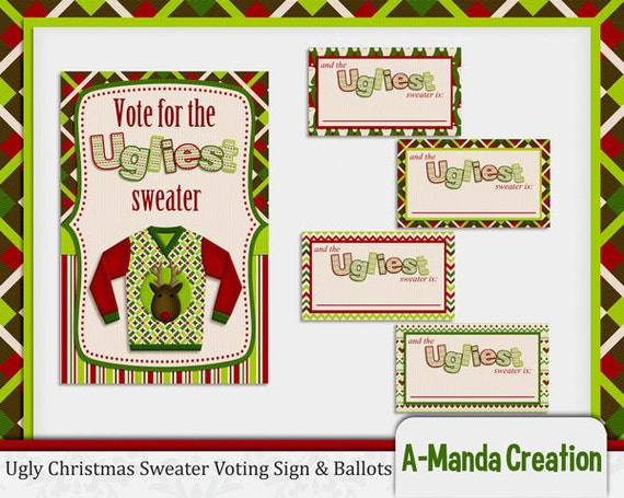 Items similar to Ugly Christmas Sweater Party Printable ...