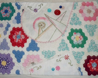 Vintage Patchwork Quilt Table Runner Mat - Dresser Scarf 23x15