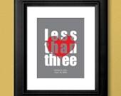 Custom Wedding Poster Guestbook Alternative - Less Than Three Heart - 11x14