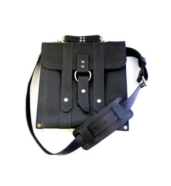 Leather iPad Bag New:  - Classic Black Slim Messenger Bag