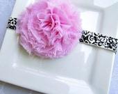 Reese- Light Pink Shabby Chic Chiffon Rosette Damask Elastic Headband