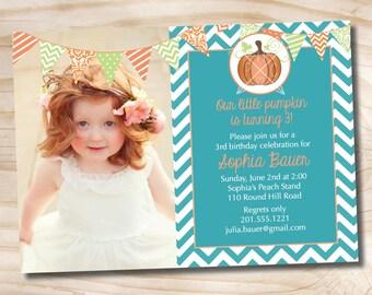 LITTLE PUMPKIN CHIC Chevron 1st 2nd 3rd Birthday Photo Party Invitation Printable diy Customizable