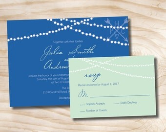 String of Lights Wedding Invitation and Response Card Invitation Suite