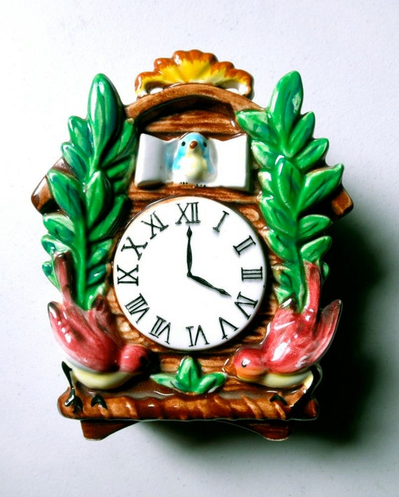 Vintage 1960s Ceramic Cuckoo Clock Colorful Wall By Jackpotjen