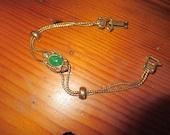Dainty Goldette Signed VICTORIAN Revival TURTLE SILDER Vintage Charm Bracelet - Gold Plate