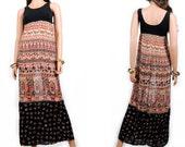 Maxi Dress - Sheer Maxi Dress - Indian Gauze Dress - Handmade Dress - Hippie Bohemian - Long Patchwork Gypsy Dress - Small - Medium