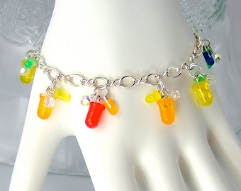 LED and Crystal Cluster Bracelet — Rainbow