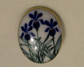 Delft Blue Flower Large Ceramic  Vintage Pin Broach///FREE SHIPPING