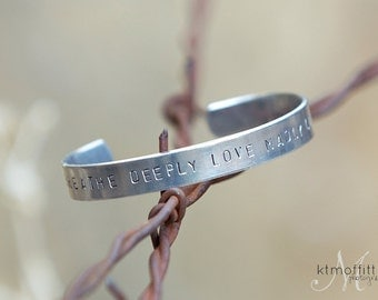 Handstamped Wide Cuff Bracelet-Personalized Jewelry-Custom Cuff