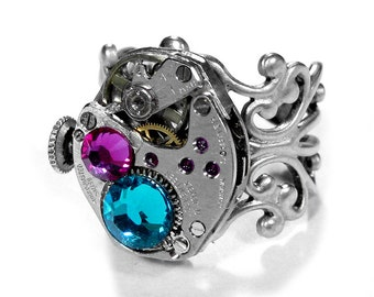 Steampunk Jewelry Ring Vintage Watch Movement SOLDERED Silver Stem Turquoise Pink Stones Wedding Anniversary - Jewelry by Steampunk Boutique