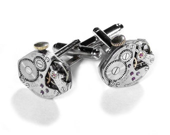 Steampunk Jewelry, Mens Cufflinks Vintage STEMS Ruby Watch Mens Cuff Links Anniversary, Wedding Groom, Fathers Day Gift - Steampunk Boutique