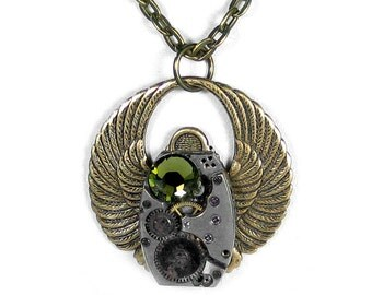 Steampunk Necklace Vintage Art Deco Watch Brass SCARAB Olive Crystal Anniversary Valentine Gift Men or Women - Jewelry by Steampunk Boutique