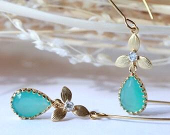 Turquoise Teardrop Earrings, Chandelier Earrings, Drop Earrings, Dangle Earring, Birthday Gift, Bridal Jewelry, Modern, Summer, Mother's Day