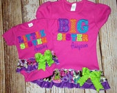 Big Sister Shirts- Embroidered shirt- Baby Announcement Shirt- Matching Sibling Shirt-  Coming Home outfit- Big Sister Matching outfits