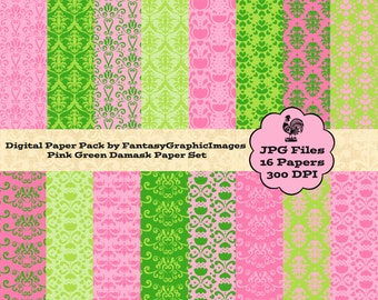 Pink Green Damask Digital Paper Pack - Bright Pink Lime Green - Preppy Girl - 16 Papers - Scrapbooking - Instant Download