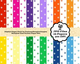 Paw Prints Digital Paper Pack - Love Dogs Cats - Bright Colors - 24 Papers - Scrapbooking Printable Paper Background Instant Download