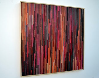 Abstract Acrylic Painting on Wood - Reclaimed Wood Art - Large Wall Art Insatallation - 48x48