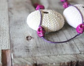 Fuchsia Skull Knotted Necklace