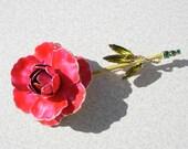 Vintage Gold tone Metal Rhinestones Enamel Flower Brooch Signed Weiss