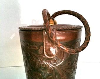 Vintage Dark Brown Floral Design Round Tooled Handbag - Circa 1940s - FREE SHIPPING IN U.S.