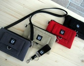 iPhone, Smart Phone Hip Bag, Set, Crossbody Strap, Front Pocket, Mini Key Fob, in 4 Color Choices