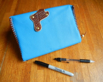 Leather Journal and Cover- Sky Blue Suede Leather with Buffalo Clasp and Bookmark