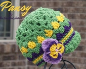 OOAK Pansy Hat Made to fit a child size 4 for kfulsang