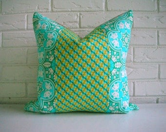 SALE Modern Eclectic Pillow Cover - Turquoise Teal Citron Tile Pattern - Bohemian Chic Decor