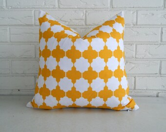 Yellow Moroccan Pillow Cover - Modern Moroccan Tile Pattern Gold and White