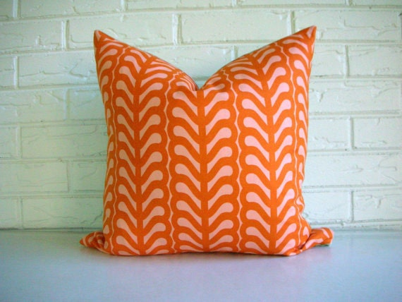 Decorative Pillow Cover Throw Cushion - Orange Pink - Cotton Linen - Lizzy House Fern Stripe - Modern Colorful Summer