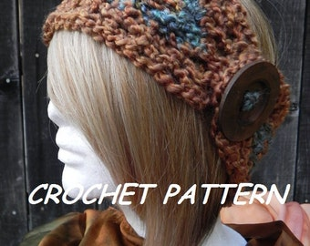 Crochet Pattern Headband Earwarmer Boho Bohemian Hippie Head Gear Head Wrap INSTANT PDF DOWNLOAD file
