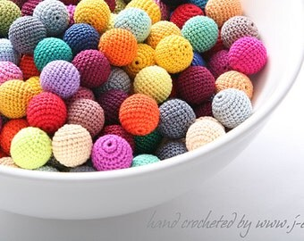 100 wooden round crochet beads balls for jewelry necklase making 2 cm cotton nature friendly - choose any custom color mix & match