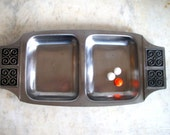 Vintage Mid Century Rogers Insilco Stainless Steel Divided Serving Tray