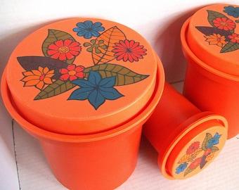 Vintage Mid Century Orange Canister Set / 1960s Vintage / 3 Piece Set