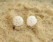Polymer Clay White Sand Dollar Earrings