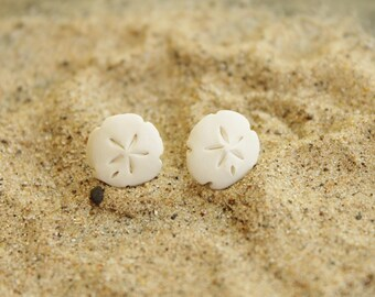 Polymer Clay White Sand Dollar Earrings