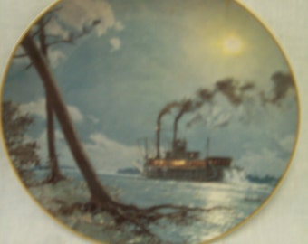 Vintage 1988 Collector Plate, Stobart's, Moonlight Over the Mississippi, Nautical