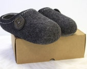Felted Wool Slippers for Everyone . Dark Gray with Light Gray inside. Size EU 45 ready to ship.