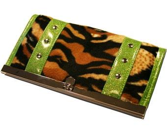 Tiger Wallet - Sparkle Vinyl - Rockabilly Wallet - Animal Print - Faux Fur - Psychobilly Wallet - MADE TO ORDER