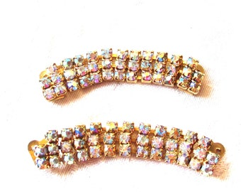 Vintage Shoe Clips, Gold Plated Setting with Aurora Borealis Rhinestones, Wedding Shoe clips, Bridesmaid