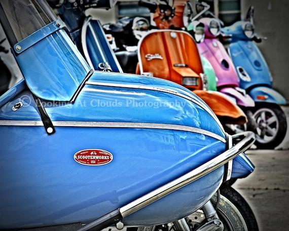 Items similar to vespa scooter stella art photo blue for Vespa decoration