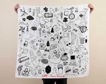 "Free Shipping Worldwide - Object Pattern Furoshiki. ""Furoshiki"" Japanese multi wrapping cloth and scarf."